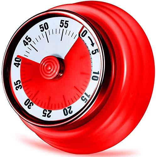 Acero Inoxidable Temporizador De Cocina, Temporizador De Cuenta Regresiva Magnético Mecánico con Respaldo Magnético Y Alarma De 72Db, para Cocinar, Hornear, Recordatorio De Tiempo De Juego,Rojo