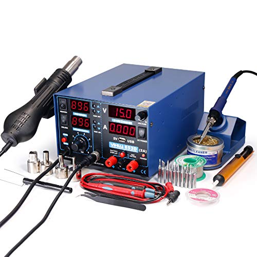 YIHUA 853D 2A USB SMD Hot Air Rework Soldering Iron Station, DC Power Supply 0-15V 0-2A with 5V USB Charging Port and 35 Volt DC Voltage Test Meter