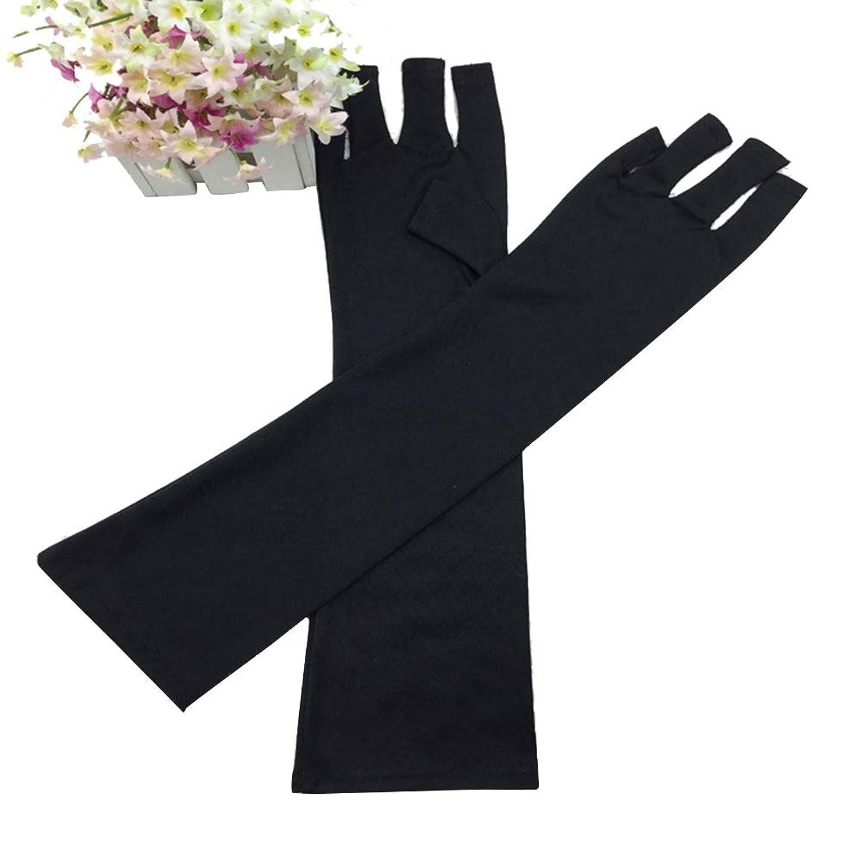 毎回海上仲間slQinjiansavネイルアート&ツール手袋UV光ランプ放射線保護手袋ハンドレストマニキュアネイルアートツール - ブラック