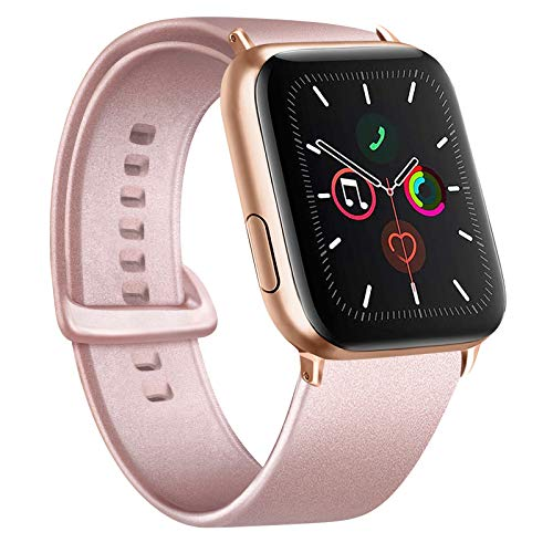 Gomei Cinturino Compatibile per Apple Watch 44mm 38mm 42mm 40mm, Silicone Cinturino Impermeabile in Traspiranti Morbidi per iwatch Serie 6, 5, 4, 3, 2, 1, SE (38/40mm S/M, Oro Rosa)