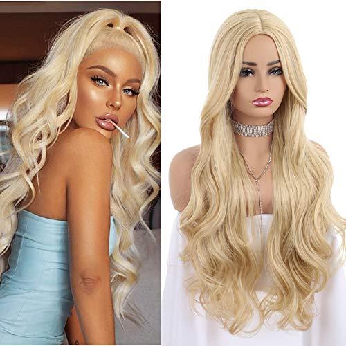 ZANAWIGS longues perruques blondes ondulées pour femmes filles, cheveux synthétiques bouclés non perruques en dentelle Costume fête tous les jours 60CM