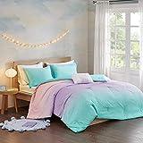 Modern Living Metallic Glimmer & Sparkles Tie Dye Aqua, Blue & Blush Ombre Girls Full/Queen Comforter Set + Homemade Wax Melts