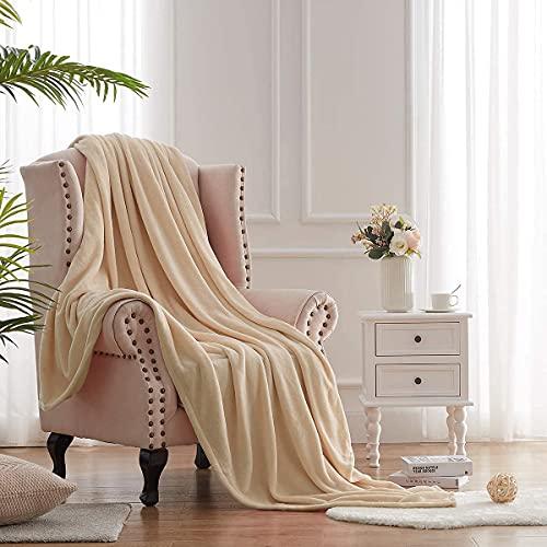 Hboemde Fleecedecke für Doppelbett, Beige, weiche Flanell-Bettdecken als Tagesdecke, Decke für Bett Coush Sofa – leicht, gemütliche Mikrofaser (60 x 80 cm)