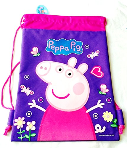 Disney Drawstring Backpack Gym School Sling Tote Bag (Peppa Pig Purple)
