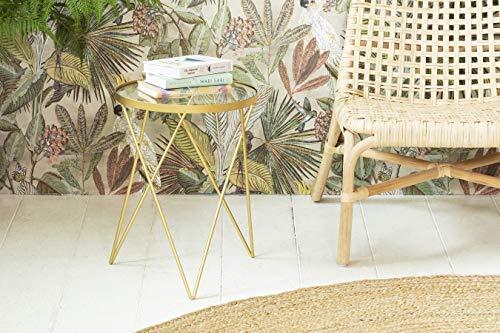 LIFA LIVING Tavolino da salotto moderno design vetro e metallo, tavolinetto color oro stile shabby, tavolino da caffè per cucina e soggiorno, Ø35.5 x 47.5 cm