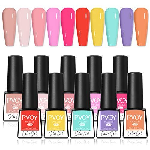 PVOY Candy Color Gel Nail Polish Set Colorful Rainbow Nail Gel Polish Kit 10 colori Soak Off UV LED Gel Manicure Set per la primavera estate 7.3ml