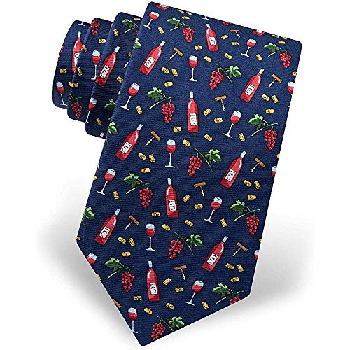 Preisvergleich Produktbild Men'S Wine Bottles Glasses And Grapes Novelty Necktie Tie