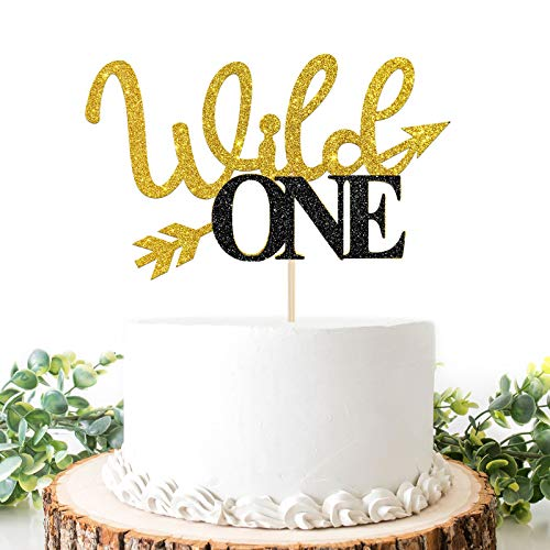 Wild One Cake Topper, Gold and Black Glitter Boy or Girl 1st Birthday / Baby Shower Cake Decor, Welcome Baby, Monogram Photo Props Decoration, Double Color