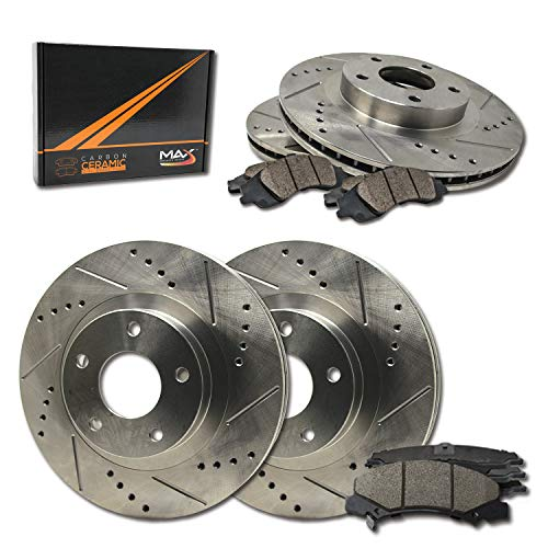 Max Brakes Front & Rear Performance Brake Kit [ Premium Slotted Drilled Rotors + Ceramic Pads ] KT033233 Fits: 2004-2005 Infiniti QX56 | Nissan Armada Titan