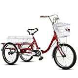 JHKGY Triciclo para adultos, ruedas de 26 pulgadas, cesta de carga, bicicleta...