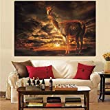 HD Print Llama Dusk Sunset Clouds Landscape Painting on Canvas Art Animal Wall Picture Decor for Living Room 70x100CM