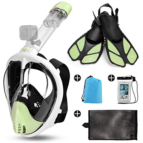 Odoland 5-in-1 Snorkeling Packages, Full Face Snorkel Mask with Adjustable Swim Fins, Lightweight Backpack and Waterproof Case, Anti-Fog Anti-Leak Snorkeling Masks Gear for Men Women, Green, M