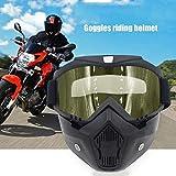 Casco Protector de equitación Cara Desmontable Motocross Bicicleta Cross Country Casco Flexible Máscara Facial Gafas-Amarillo