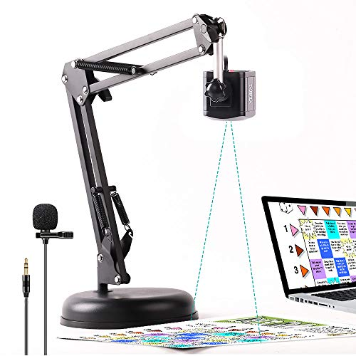 8MP USB 2-in-1 Document Camera and Webcam for Teacher,High Definition Camera with Rotate Arm and Lavalier Microphone for Distance Teaching Web Conferencing for Windows Mac Chromebook