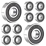 Rodamientos rígidos de bolas de acero inoxidable 608-2RS, rodamientos de bolas radiales de una hilera, rodamientos rígidos de bolas sellados (10 piezas)