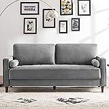 Modern Velvet Square arm upholstered Tufted Sofa with Pillows,...