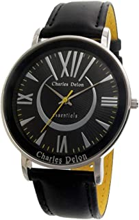 Charles Delon Mens Quartz Watch, Analog Display and Leather Strap 5492 GPBY