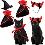 Weewooday 4 Pieces Halloween Pet Costume Set Including 2 Vampire Costume Cloaks 1 Pet Witch Hat and 1 Horn Hat for Cat and Dog Role Play Party Supplies