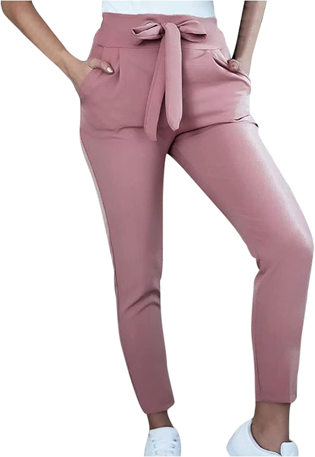 Pyhlmscde Women Summer Trousers Work Business Elegant Pencil Trousers Solid Color Casual Capri Pants with Pockets