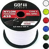 GO!elements 100m Paracord Seil aus reißfestem Nylon - 3mm Paracord 425 Typ II max. 192kg - Schnüre als Outdoor Seil, Allzweckseil, Survival Seil, Armband, Hundeleine, Nylonschnur, Farbe:Weiß