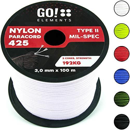GO!elements 100m Cuerda Paracord de Nylon Resistente al desgarro - 3mm Paracord 425 Tipo II líneas como Cuerda para Exteriores, Cuerda para Todo Uso - línea de Nylon MAX. 192kg, Color:Blanco