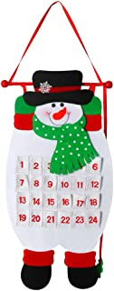 USATDD Christmas 2019 Advent Calendar 3D Felt Haning Advent Calendar Reusable Countdown to Xmas Calendar Christmas Decorations Wall Door Gift for Kids (Snow Man)