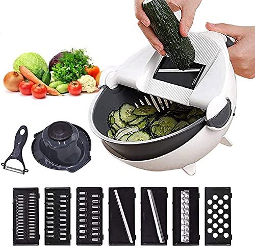 ASKI Cortador de vegetales 11 en 1 multihoja ajustable para queso y verduras con cesta de drenaje, juego de herramientas de cocina portátil con pelador de frutas.
