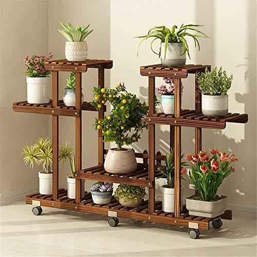Hsj Flower Stand Soporte de madera de la flor con ruedas desmontable de cuatro capas Planta carnosa aterrizaje del soporte de exhibición de la planta exhibición del soporte de flor de flores de almace