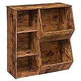 HOOBRO Kids Bookshelf, Bookcase Footboard, Multi-Bin Storage Cubby, Tilting Toy Storage Cabinet with 2 Adjustable Shelves, Suitable for Children's Room, Playroom, Hallway, Rustic Brown BF31CW01