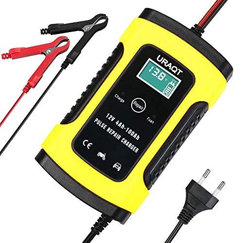 URAQT Batterie Ladegerät Auto, Intelligentes Ladegerät, Erhaltungsladegerät, 6A/12V Batterieladegerät, Batterie-Desulfator mit Mehrfachschutz für Auto, Motorrad, Rasenmäher oder Boot (Gelb)