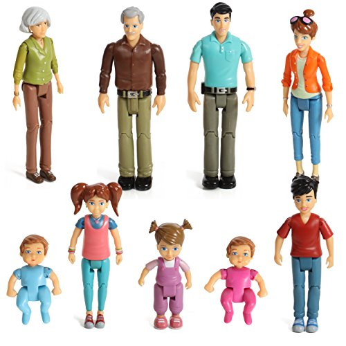 Beverly Hills Doll Collection Sweet Lil Family Dollhouse People Set of 9 Action Figure Set - Grandpa, Grandma, Mom, Dad, Sister, Brother, Toddler, Twin Boy & Girl