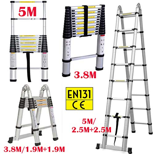 Mehrzweckleiter Teleskopleiter Klappleiter 3,8 m AluLeiter Ausziehbar Verlängerungsleiter A-Rahmen/gerade Leiter, EN131 (gerade, 3,8 m)