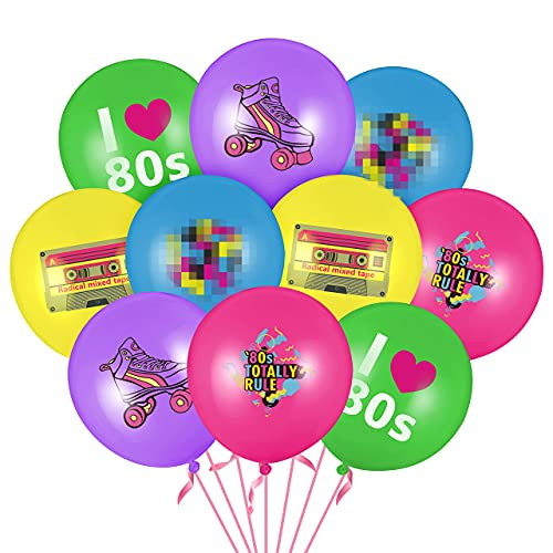 50 x 1980s Themed Party Balloons. 10 x 5 Colours and 2 pink ribbons. Includes cassette, rollerskate graphics.