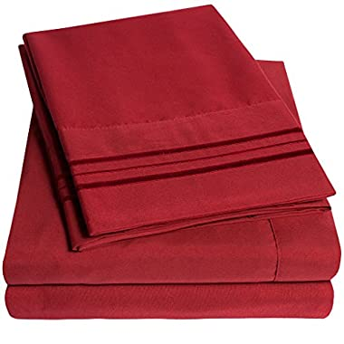 1500 Supreme Collection Bed Sheets Set - PREMIUM PEACH SKIN SOFT LUXURY 4 PIECE BED SHEET SET, SINCE 2012 - Deep Pocket Wrinkle Free Hypoallergenic Bedding - Over 40+ Colors - King, Red