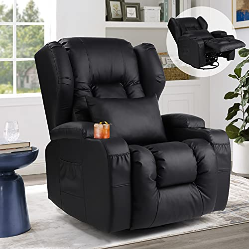 Swivel Rocker Recliner Chairs for Living Room with Cup Holders/Lumbar Pillow/Side Pockets/Front Pockets/Wing Back/PU Leather (Black)