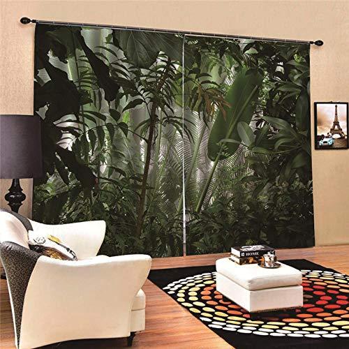 FTJDR Cortinas Opacas 3D Selva Tropical Cortinas De Salon En Poliéster para Habitacion Dormitorio Cocina Decoración del Hogar Moderno,2 Paneles 220X215Cm