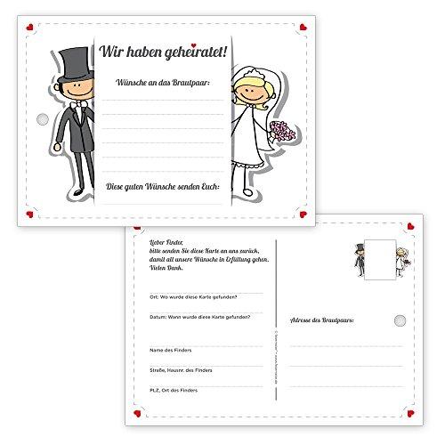 50 hübsche Ballonflugkarten / Weitflugkarten Comic Style für eine tolle Hochzeit - gelocht & extra-leicht