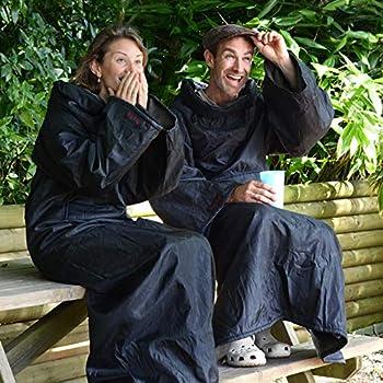 Snug Rug Couverture d'extérieur avec Manches imperméable Coupe-Vent pour la pêche Le Festival Le Camping, Longues Portable pour Fauteuil Roulant Cape avec Chapeau Gris