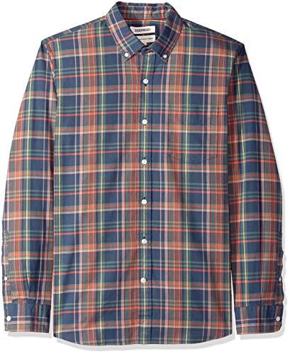 Amazon-Marke: Goodthreads Herren Oxford-Hemd, langärmlig, normale Passform, kariert, Blau (Navy Pink Plaid Nav), US L (EU L)