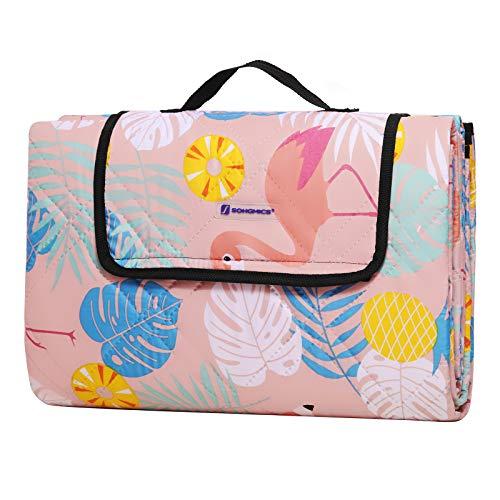 SONGMICS Picknickdecke, 195 x 150 cm große Stranddecke, Campingdecke mit Tragegriff, wasserdichte Unterseite, Ultraschallnähte, maschinenwaschbar, für den Garten, Park, Pastell-Flamingos GCM86PK