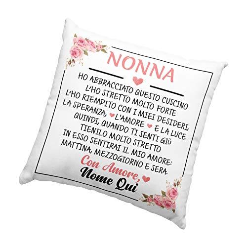 Cuscino da personalizzare Nonna Amore, Cuscino 40x40cm per nonna, Idea Regalo per Natale, Regalo compleanno - con Imbottitura (Bianco, 40_x_40_cm)