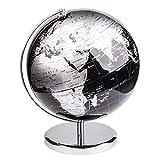 Exerz 25cm Globo Terráqueo - en Inglés - Decoración de Escritorio educativa/geográfica/Moderna - con una Base de Metal - Negro Metálico - Diámetro: 25cm