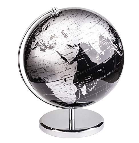 Exerz Metallisch Globus (Durchmesser: 25 cm) - Pädagogisch/Geografisch/Dekoration - Mit einem Metallfuß - in Englischer Sprache (25CM Metallisches Schwarz)