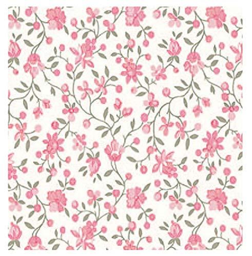 i.stHOME Klebefolie Möbelfolie selbstklebend Blumen rosa Blumenranken Dekofolie Möbel bunt Selbstklebefolie Vintage Selbstklebende Folie Landhaus Bastelfolie