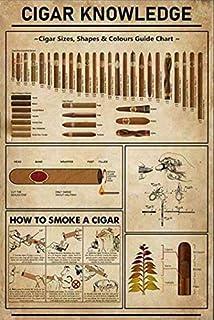 MAIBU Cigar Knowledge - Plaque murale en métal pour bar, restaurant, café, pub, garage - 20,3 x 30,5 cm