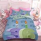 Hiiiman - Juego de 3 piezas para todas las estaciones de cumpleaños, 36 velas sobre fondo azul bebé (3 piezas, California King Size) 1 funda de edredón y 2 fundas de almohada