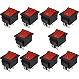 URBEST 10 Pcs KCD4 DPST ON-Off 4 Pin Rocker Boat Switch 16A/20A AC 250V/125V for Car, Motorcycle