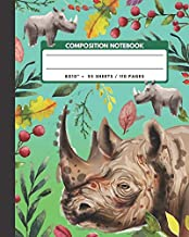 """Composition Notebook: Rhinoceros - Zoo Animals Exercise Book & Journal , Back To School Gifts For Teens Girls Boys Kids Friends Students 8x10"""" 110 Pages"""