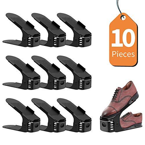 LENTIA Schuh Slots verstellbar Schuhschlitz Schuhregal mit DREI verschiedenen Höhen Schuh Einschub 3 Ebenen 25 * 9.5 * 6cm Mehrfarbig (10 Pack) (schwarz)