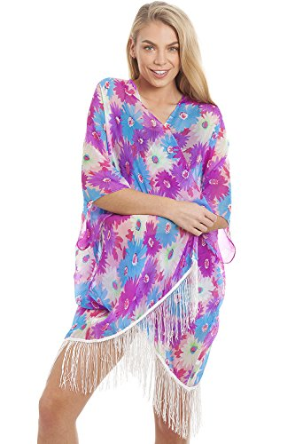 (Purple Kimono) - Central Chic Women's Pretty Kaftans Kimonos Beach Cover Up Evening Top Blouse Loose Fit One Size Fits All
